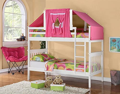 Donco Kids Twin Over Twin Mission Bunk Bed with Tent Kit in White and Pink