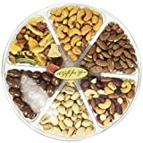 #2: California Natural Nuts Freshly Roasted Nut Gift Tray 2 Lbs Delicious Salted Almonds, Buttery Cashews, Tasty Pistachios, Savory Mixed Nuts, Chocolate Covered Almonds, Walnuts, Pecan (2 POUNDS)