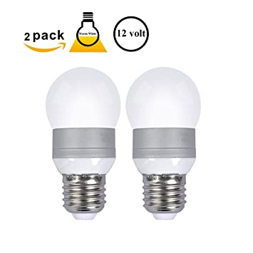 pack of 2 5w e26 led bulbs 12 volt warm white