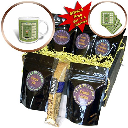 3dRose Beverly Turner St Patrick Day Design - Red Headed Leprechaun Taking His Hat Off, Plaid Frame, Green, Yellow - Coffee Gift Baskets - Coffee Gift Basket (cgb_282045_1)