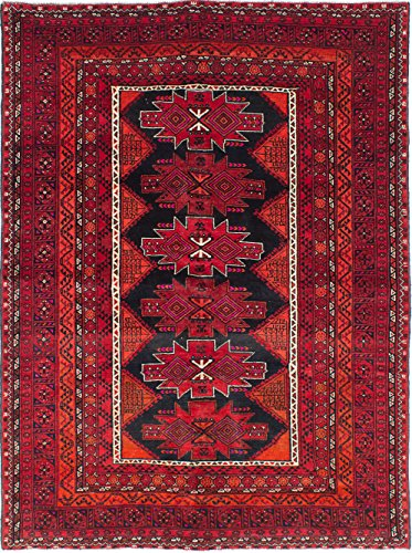 Ecarpetgallery Hand-knotted Vintage Tribal Red 6' x 8' 100% Wool Traditional area rug - Antique Red Rectangle Rug