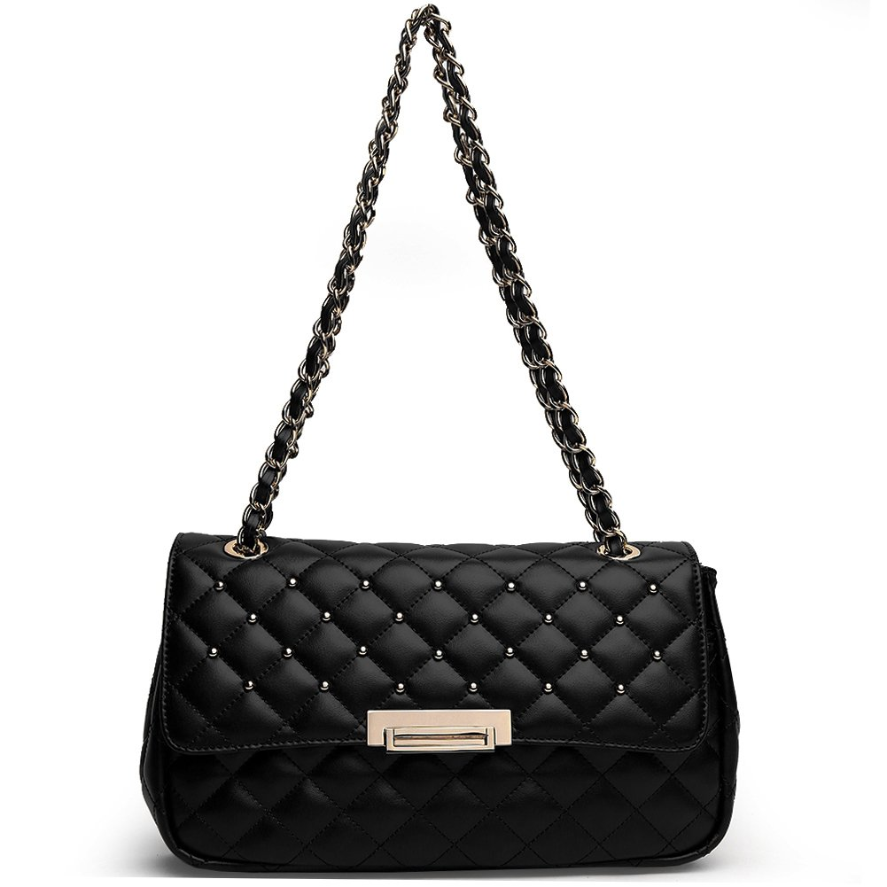 ANA LUBLIN Women Leather Shoulder Bag Small Quilted Handbag Purse Crossbody Bags Pearl-black by ANA LUBLIN