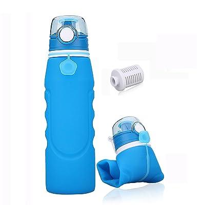 1Litre Bouteille D'eau Pliable et Portable Pour, Sans BPA, FDA Approuvé Les Activités Extérieures,Voyage,Camping, Randonnée,Yoga Gris, Gym(Bleu)