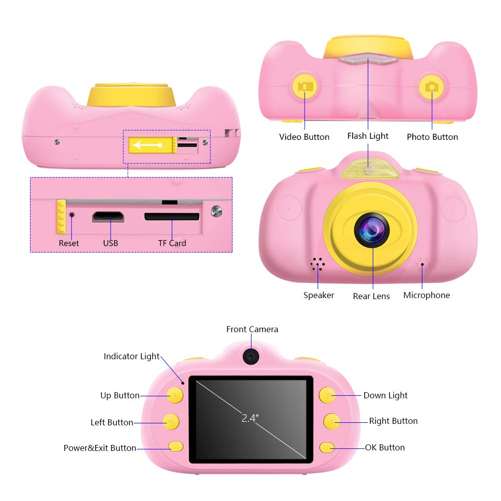 Huaker Kids Camera ,2.4Inch Screen Digital Camcorders Camera Rechargeable 8MP Children's Camera with Silicone Soft Cover for 3-10 Year Old Boys Girls Party Outdoor Play by Huaker (Image #4)