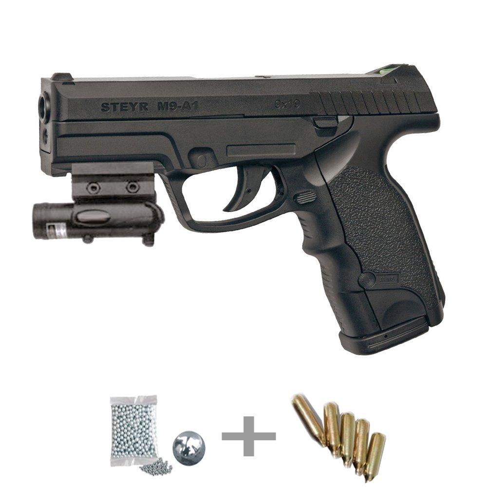 KITASG GNB STEYR Mannlicher M9-A1 LÁSER - Pistola de aire comprimido (CO2) y balines de acero (perdigones BBS) calibre 4.5mm. Réplica + accesorios 5J