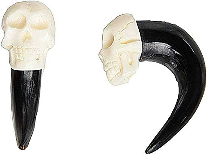 Amazon Com Jewelryvolt Organic Taper Ear Gauge Pairs Realistic Hand Carved Bone Skull With Horn Taper 4g 5mm Jewelry