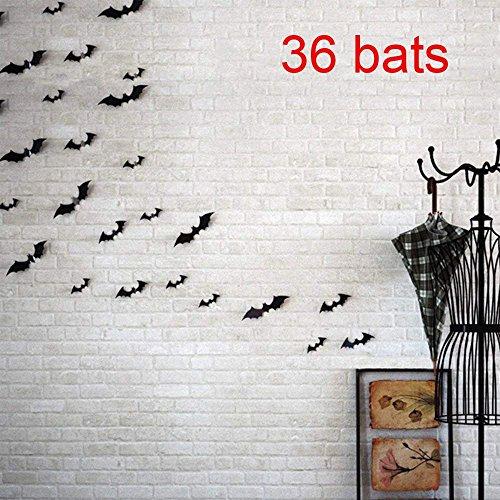 36Pcs 3D Bats Stickers Halloween Decoration,Wall Decals Stickers Window Decor Party Supplies Decoration,4 Sizes (Bats -