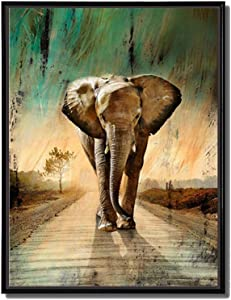 Animal Painting - African Wall Art Elephants Waking Down Green Grassland Road Picture Prints on Canvas with Black Floater Frame Ready to Hang for Home Living Room Bedroom Decor (Elephant1, 16x24inch)