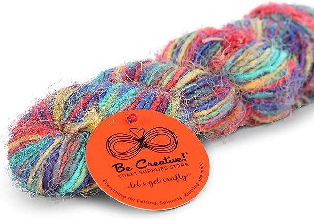100g handspun silk yarn Sari silk yarn knitting yarn jewellery making and arts and crafts Weaving yarn.