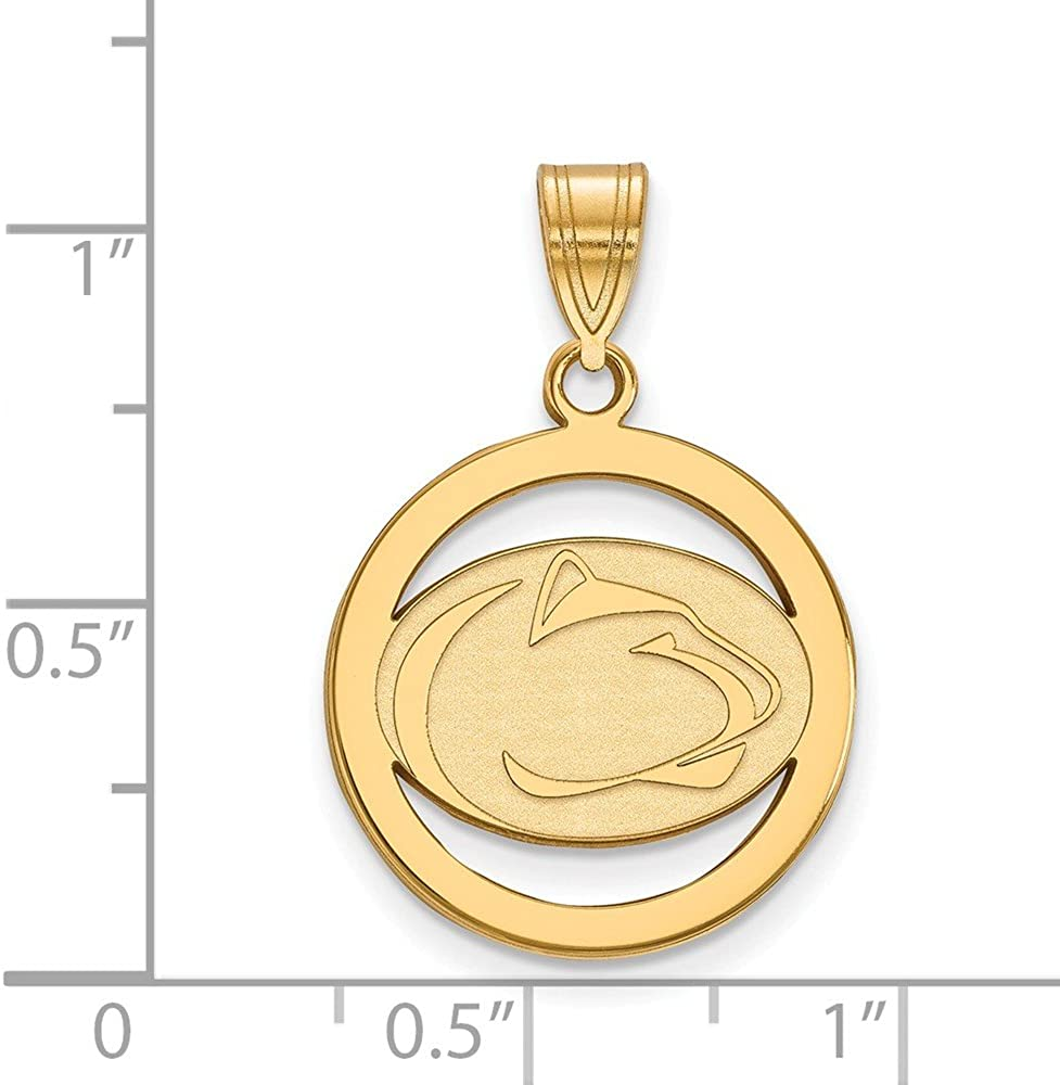 925 Sterling Silver Yellow Gold-Plated Official Penn State University Med Pendant Charm in Circle 25mm x 18mm