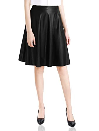 Allegra K Women High-Waisted PU Leather Flared A Line Midi Skirt ...