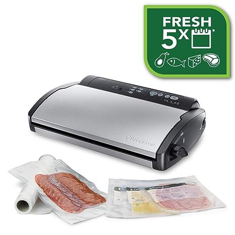 Food Saver V2860 - Envasadora al vacío, 2 tipos de envasado, 3 velocidades, color negro y plata