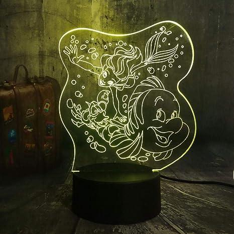 Lámpara 3D De Noche Led Dibujos Animados La Sirenita ...