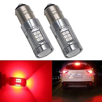 HSUN BAY15D P21/5W 1157 Bombillas LED, sistema Canbus con 30 chips SMD3030 muy brillantes, 2 unidades, color rojo: Amazon.es: Coche y moto