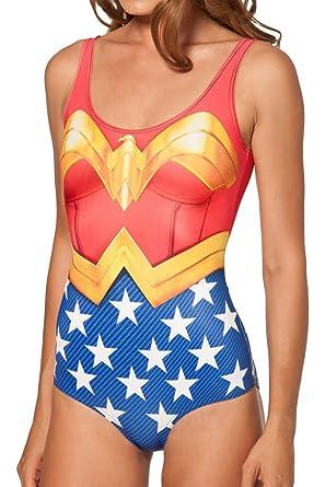 49fe4781b95 Petite Ladies Wonderwoman Leotard Cartoon Character Swimsuit Costume 8 10  12  Amazon.co.uk  Clothing
