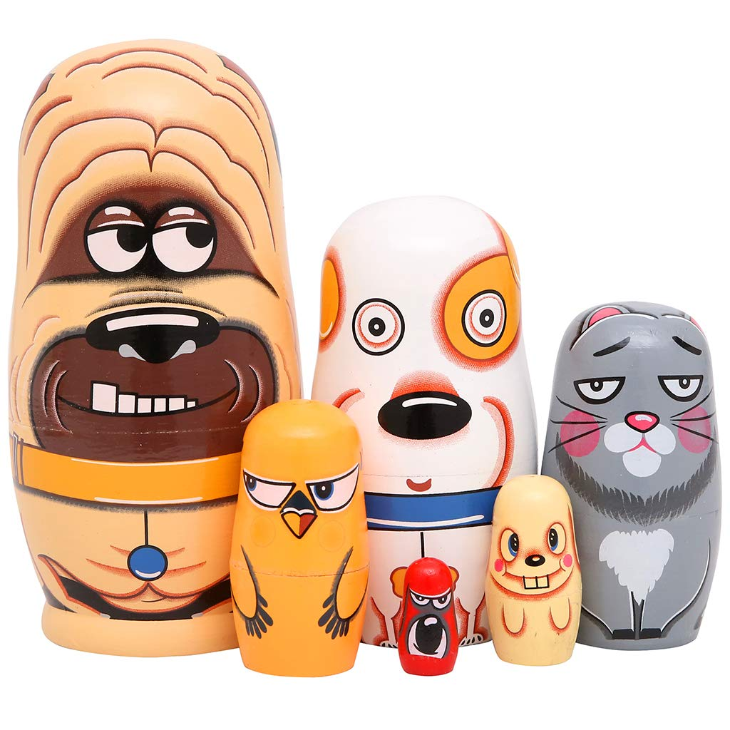 Moonmo 6pcs Handmade Wooden Russian Nesting Dolls Russian Nesting Dolls Cute Dogs Matryoshka Dolls. by Moonmo (Image #1)