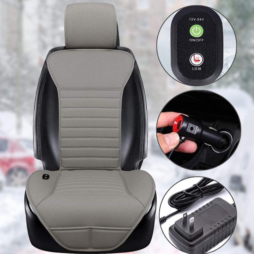 Heated Car Seat Cover Pad for Car Seat Black Office Chair and Home Use Universal 12V Car 24V Truck Seat Heater with AC Adapter Big Hippo Heated Seat Cushion