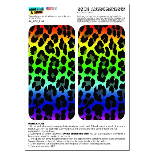 Graphics and More Leopard Spots Animal Print Rainbow Protective Skin Sticker Case for Apple iPhone 5C - Set of 2 - Non-Retail Packaging - Opaque