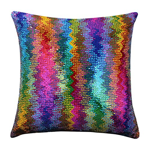 - Magic Mermaid Pillow Cover Reversible Sequins Color Changing Pillow Case Funny Home Decoration Gift for Kids