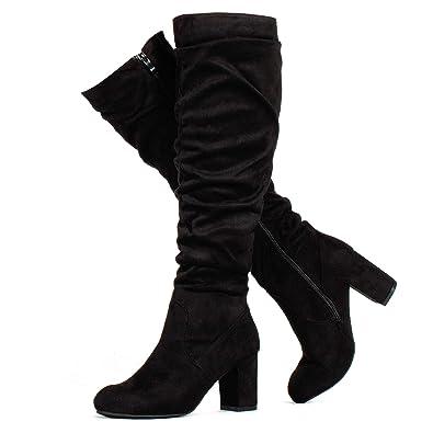 bbb7827b62f RF ROOM OF FASHION Women s Medium Calf Chunky Heel Slouchy Knee High Dress Boots  Black SU