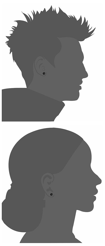 Sailimue 3 paia di acciaio inossidabile stallone nero degli orecchini per uomini donne cz orecchini 3mm-8mm disponibili