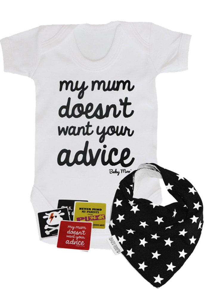 My Mum Doesn't Want Your Advice Funny Baby Gift Set / Funny Boys or Girls Baby Gift Set / Cool Baby Shower Gift - Gift Bag (Baby Grow 3-6 months) BabyMoos.com Adv-Gbag36