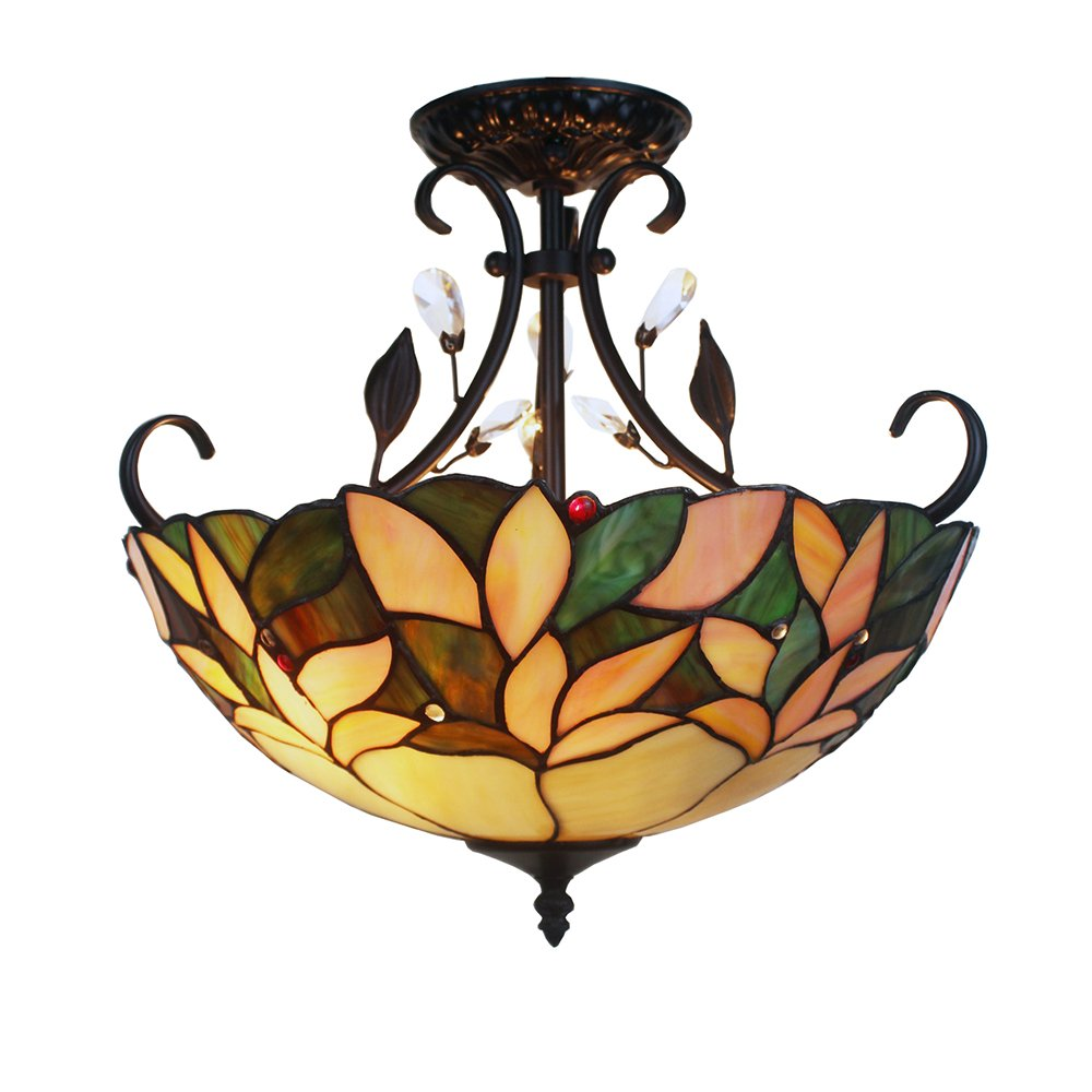 Warehouse of Tiffany TF16FCL 2 Light Aika Leafy Tiffany-Style with Crystals Ceiling Lamp 2, 16'', Green