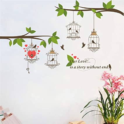 Branch Tree Birds Cage Removable Wall Stickers Art Decals Kids Nursery Decor DIY