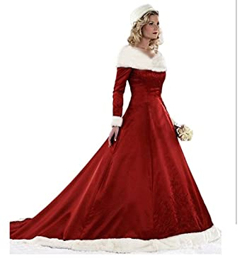 0bd71790ae31 Amazon.com  XIA Women s V-Neck Costume Dresses Long Sleeves A-line  Appliques Red Long Ball Gown Winter Wedding Dresses Plus Size  Clothing
