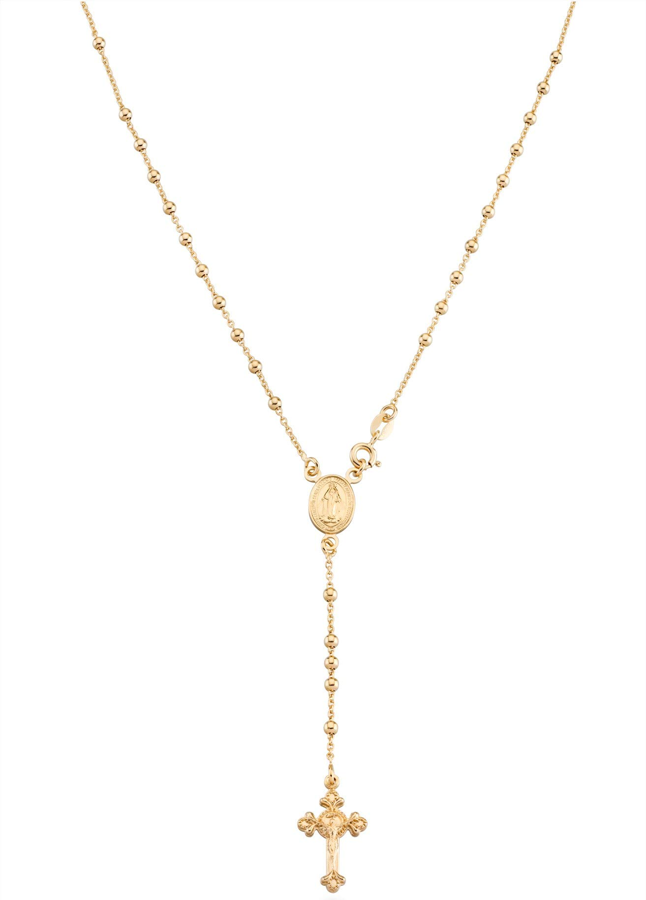 MiaBella 18K Gold Over Sterling Silver Italian Rosary Bead Cross Y Necklace Chain for Women Men 20 Inch
