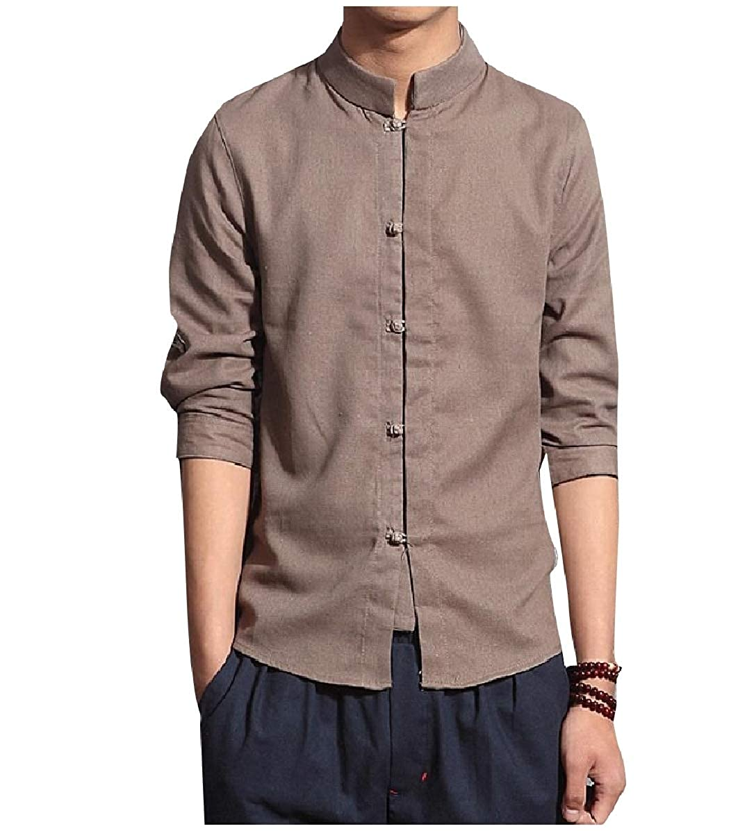 YUNY Mens Chinese Style Linen 3//4 Sleeve Back Cotton Western Shirt Khaki 4XL