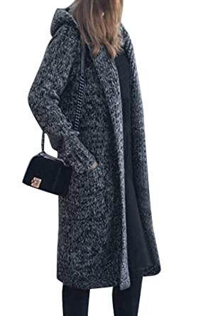 OULIU Womens Winter Thick Long Hooded Knit Cardigan Sweater Coat ...