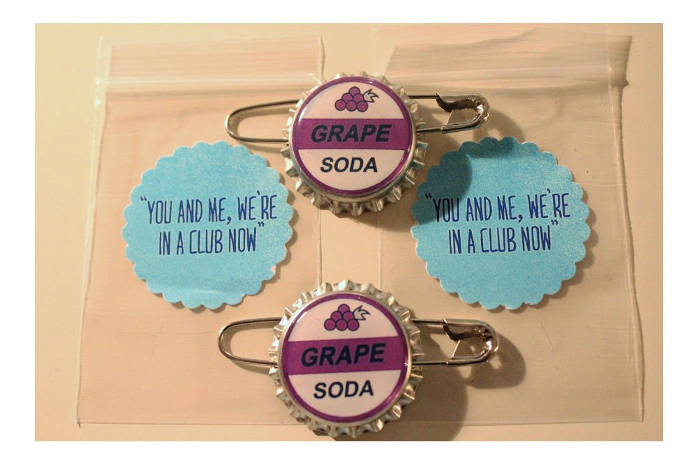 Set of 2- Replica ELLIE BADGE GRAPE SODA BOTTLECAP PIN! ''UP'' & Sticker Gift Bags Top Rated