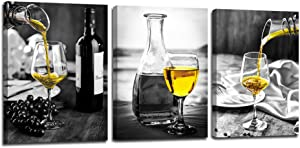 Black and White Wine Wall Art Print Pictures on Canvas for Home Kitchen wall Decor ,12