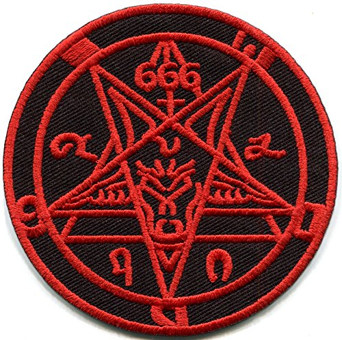 Satanic goat's head Baphomet pentagram pentacle 666 occult red on black embroidered applique iron-on patch new ...