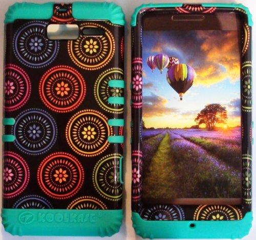- Cellphone Trendz (TM) Hybrid Rocker High Impact Bumper Case Colorful Circular Aztec Tribal / Teal Silicone for Motorola Droid Razr M (XT907, 4G LTE, Verizon)