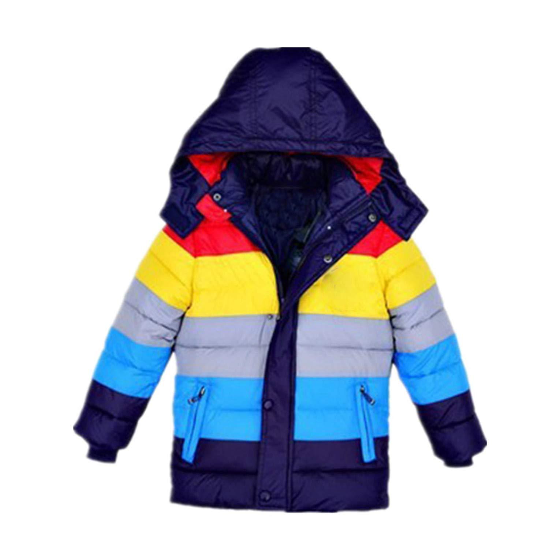 45abc6b68c9f Children Jackets Boys Stripe Winter Down Coat New Baby Winter Coat Kids  Warm Outerwear Hooded Coat Dark Blue 6  Amazon.co.uk  Clothing