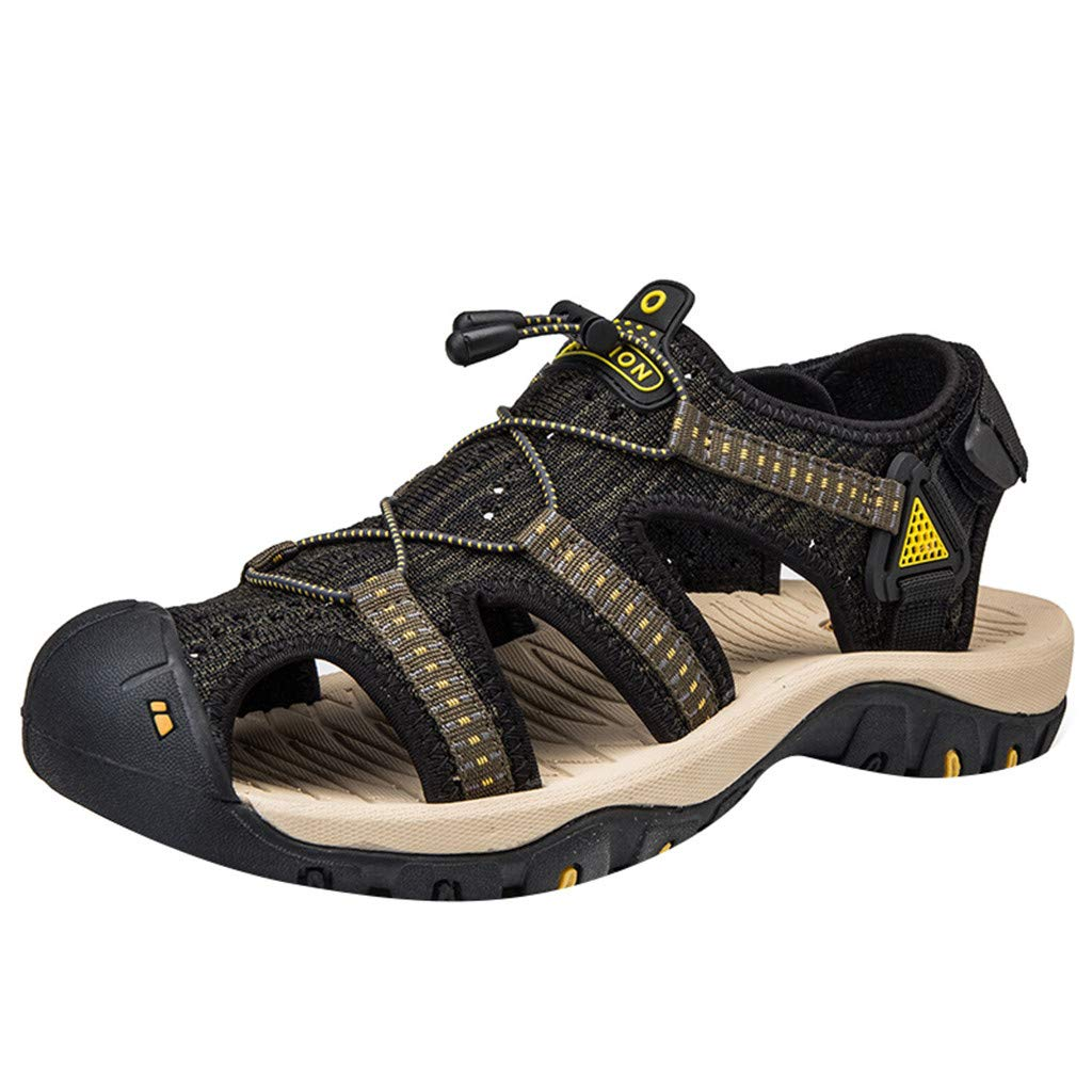 Mens Closed Toe Sandals Summer Casual Fisherman Waterproof Cutout Outdoor Water Shoes (US:6.5, Green)