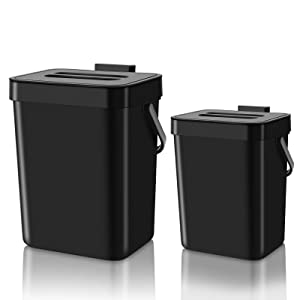 SUBEKYU 1.3+0.8GAL Hanging Compost Bin with Lid, Small Wall Mounted Trash Can for Indoor Kitchen/Countertop/Under Sink, Plastic Sealed Garbage Can, in-Home Composting Waste Basket, Set of 2, Black
