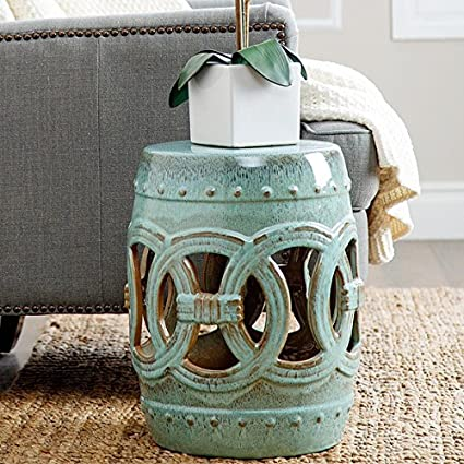 Ceramic Garden Stool Teal Blue Side Table Rustic Look Patio Decor Indoor  Outdoor Beautiful Moroccan Decor