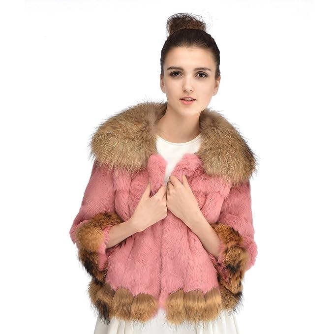 Vemolla Verdadera piel de conejo de las mujeres capa de la chaqueta de piel de mapache Naturaleza Outwear collar: Amazon.es: Ropa y accesorios