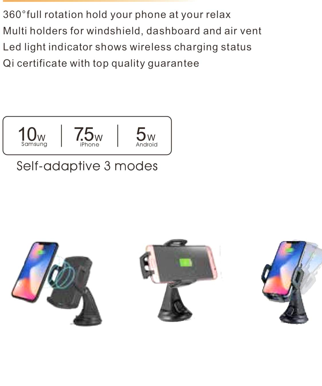 Megwoz Wireless Car Charger Mount, 7.5W/10W Fast Charging, Auto-Clamping, Dashboard Air Vent Phone Holder Mount, Compatible iPhone Xs/Xs Max/XR/X/8/8+, Samsung Note 9/8/7 S9/8/7 & Qi Enabled Devices