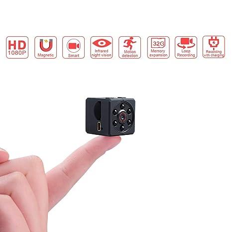 Hireomi Mini Camara Espia Oculta Videocámara, 1080P HD Cámara Vigilancia Portátil Secreta Compacta con Detector