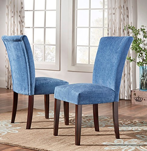 ModHaus Modern Blue Chenille Fabric Parsons Style Dining Side Chairs | Wood Finish Wooden Legs – Set of 2 Includes ModHaus Living (TM) Pen Review