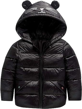 Girls Hooded Down Jacket Thick Cartoon Ear Jacket Warm Winter Clothing Long Sleeve Top Coat Light Weight Snowsuit Kids Outwear Black 6T
