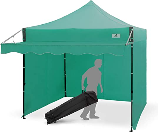 Amazon Com Finfree 10x10 Ft Pop Up Canopy Tent Commercial Instant Canopy With Awning Roller Bag 6 Walls And Weight Bags Green Garden Outdoor