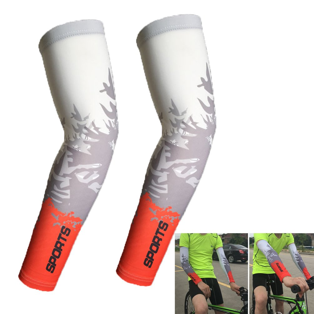 haresleメンズレディースCompression Arm Sleeves UV保護カバーバスケットボールのゴルフサイクリング運転 B07CLP9QHS レッド Large