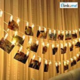 ELINKUME LED Photo Clip String Lights, 20 Photo Clips, 2.2 Meter/7.21 Feet, Warm White, Perfect for Hanging Pictures, Notes, Artwork, Memos and etc.