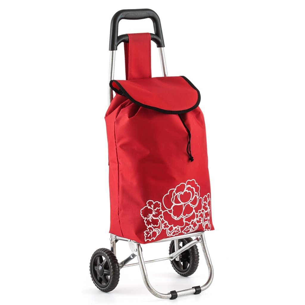 Handcart Cold-rolled Steel Trolleys Hand Truck Elderly Shopping Cart Rubber Wheel Mute Cart Small Trailer Contains Red Bag Load 15 Kg (Color : Red)