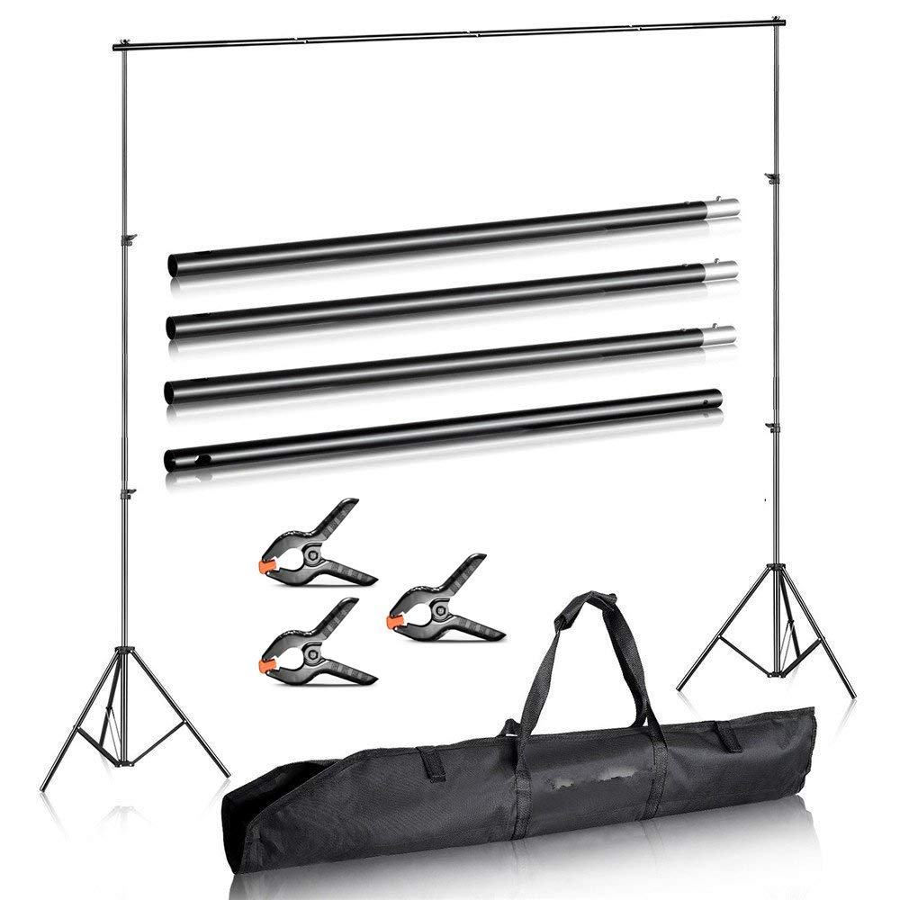 Duramex (TM) Photography 10' Wide x 7' FT High Background Stand with Bag for Backdrop Muslin Paper with Two Stands, Metal Crossbar in 4 Sections for Photo Video Digiparts